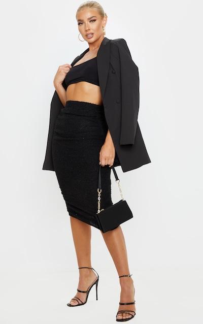 Black Boucle Ruched Midi Skirt