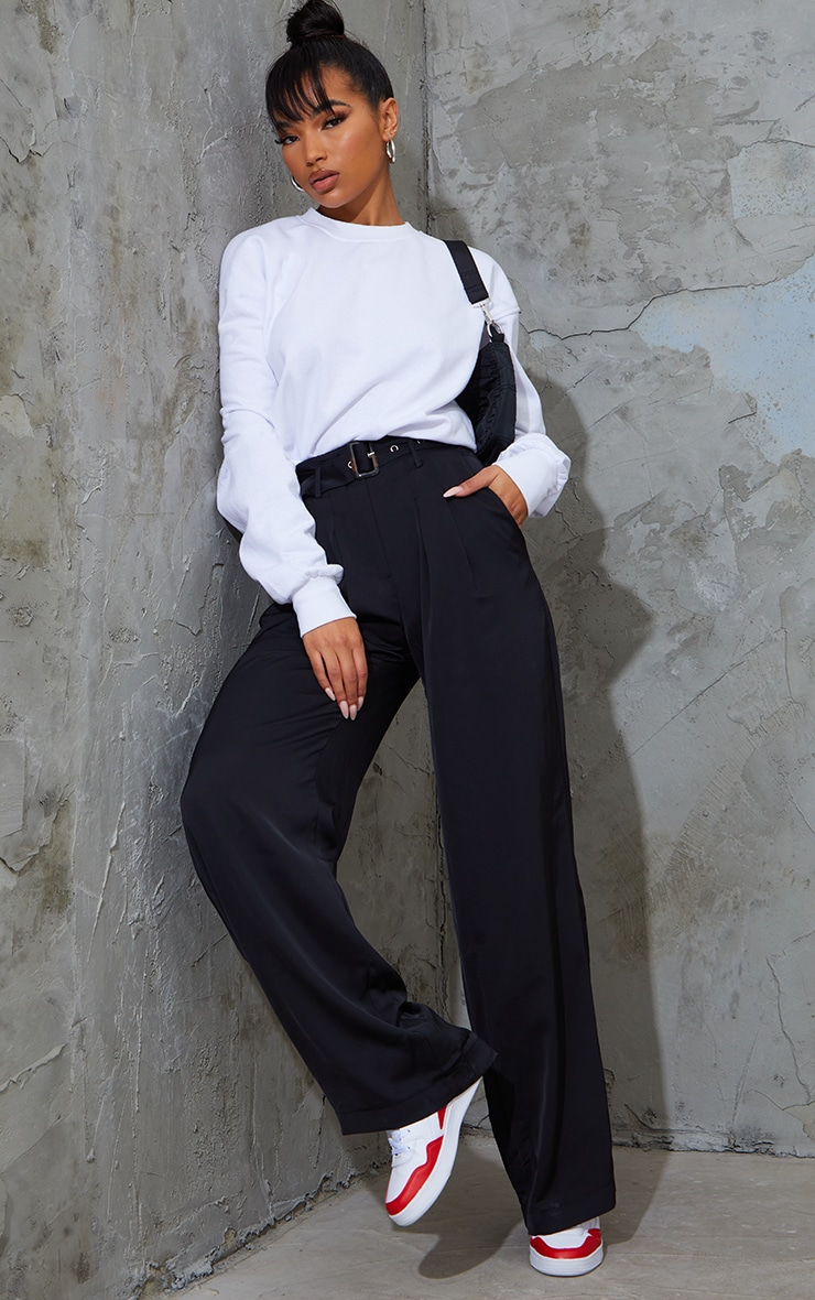Black Belted Woven Wide Leg Pants 1