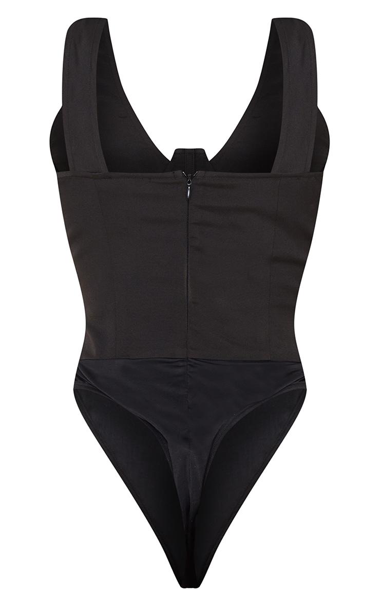 Tall Black Corset Detail Woven Bodysuit  6