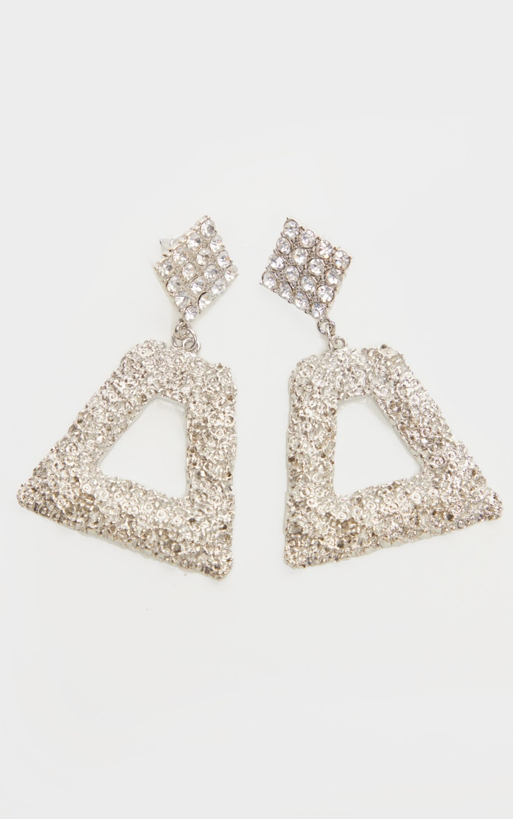 Silver Diamante Textured Door Knocker Earrings 2