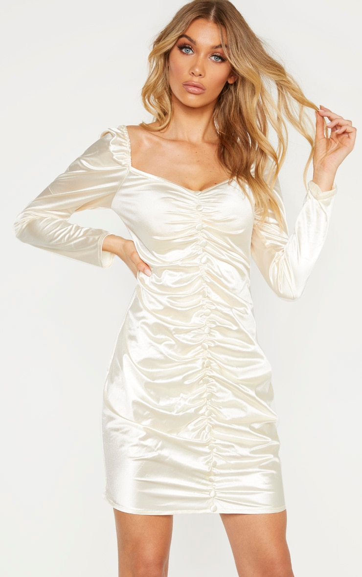Tall Cream Ruched Button Front Satin Dress  1