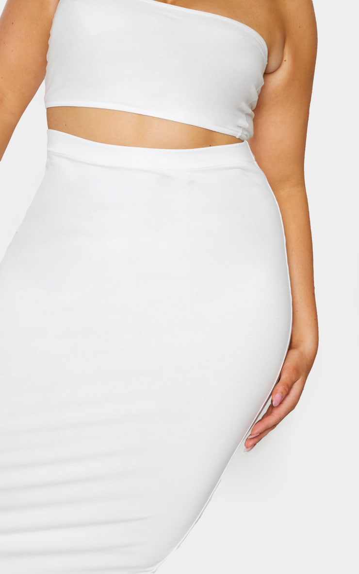Plus Cream Cotton Split Detail Midi Skirt 4