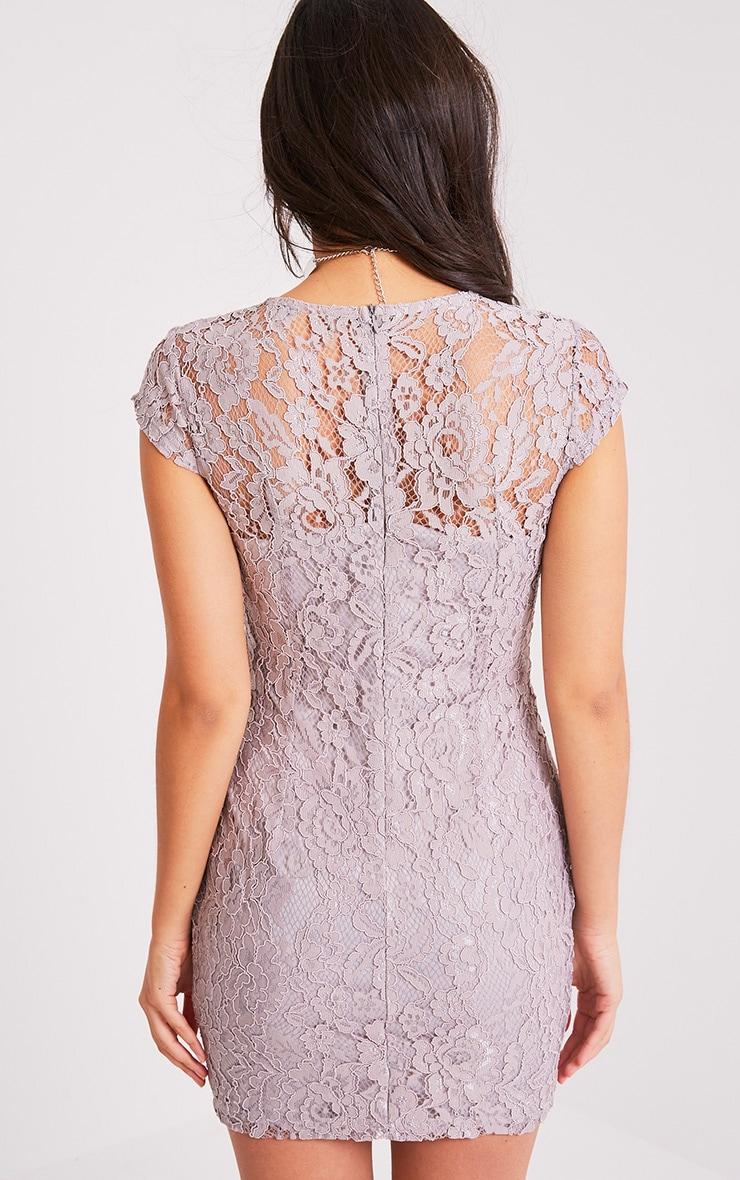 Natasha Ice Grey Lace Cap Sleeve Bodycon Dress 2