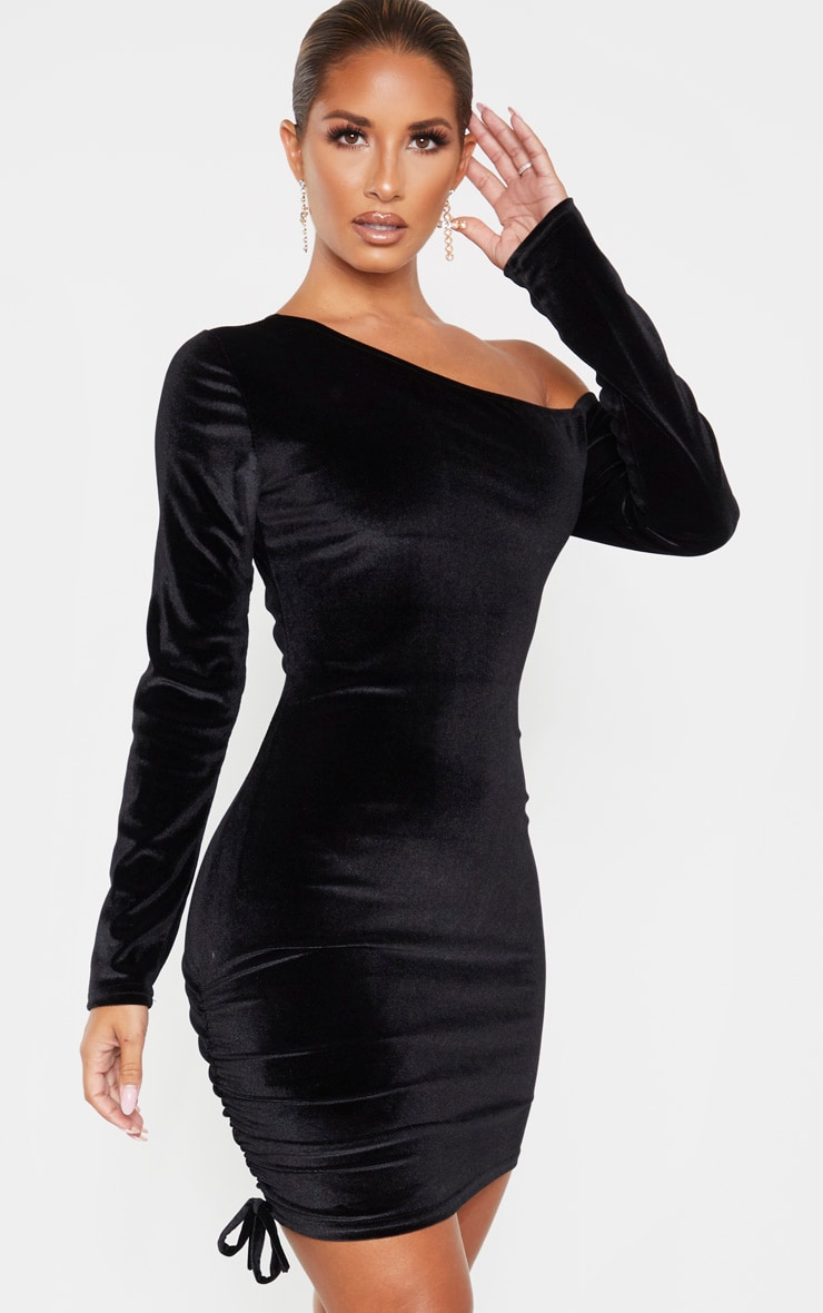 Black Ruched Velvet  Long Sleeve Bodycon Dress 1