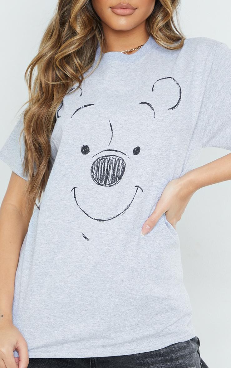 Grey Disney Winnie The Pooh Drawing Printed T Shirt 4