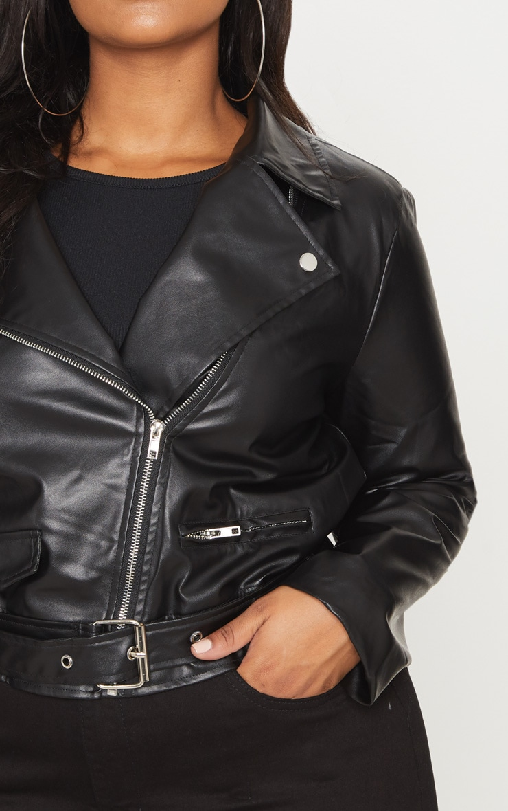 Plus Black PU Biker Jacket 5