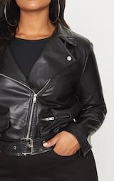 Plus Black PU Biker Jacket 5