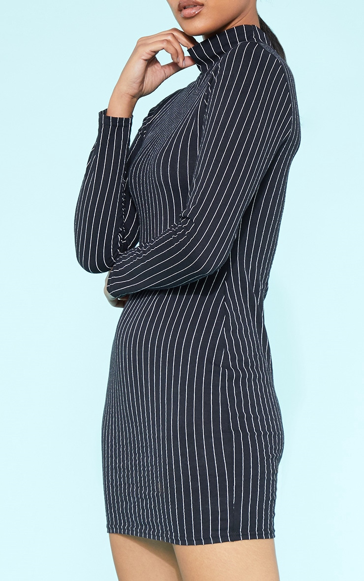 RECYCLED Black Pinstripe Roll Neck Long Sleeve Bodycon Dress 6