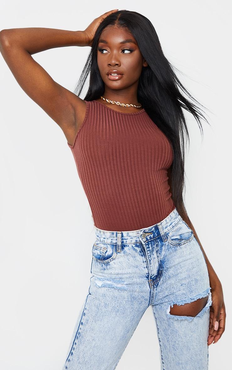 Tall Chocolate Wide Rib Sleeveless Bodysuit 1