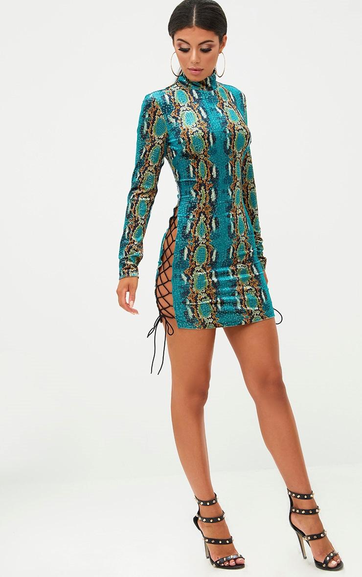 Green Velvet Snake Print Side Lace Up Bodycon Dress 4