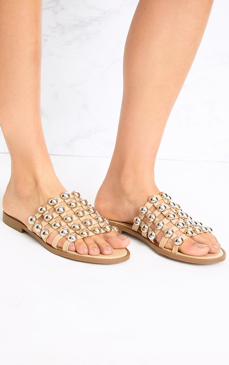 Nude Large Studded Slides 1