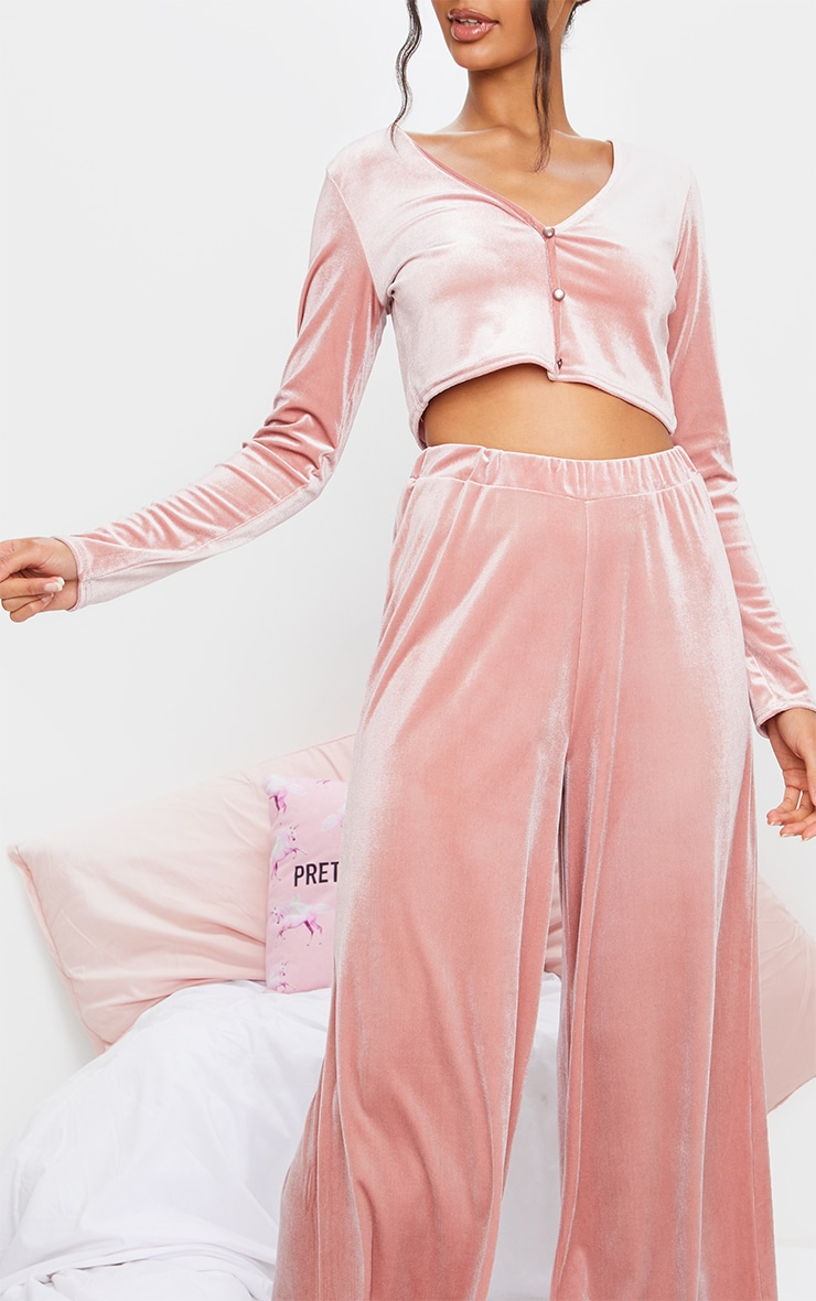 Blush Velvet Crop Button Up Long Lounge Set 4