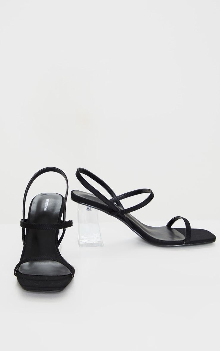 Black Square Toe Clear Low Block Heel Sandals 2