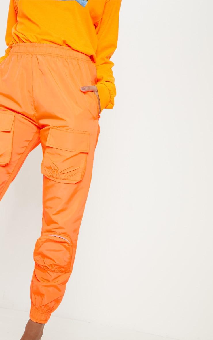 Neon Orange Shell 3D Pocket Detail Jogger  5