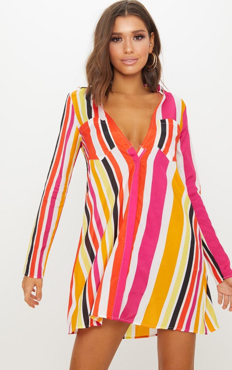 Orange Stripe Print Chiffon Shirt Dress (as sample) 1