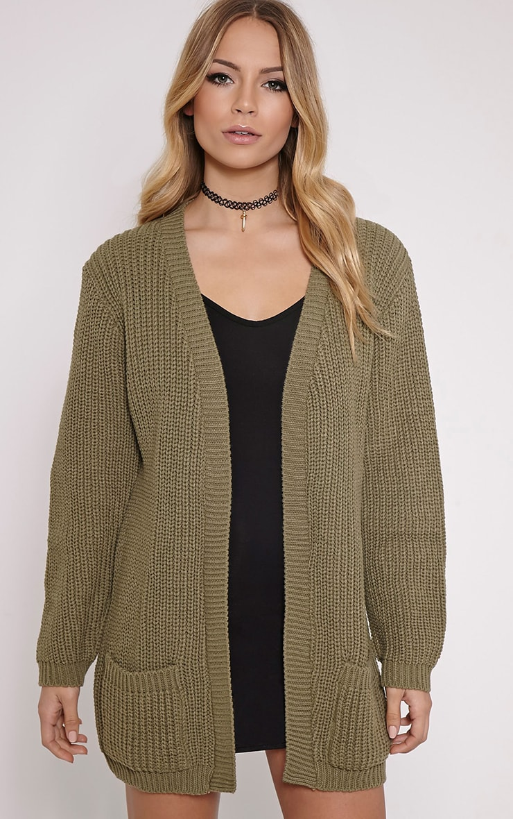 Whitney Khaki Oversized Cardigan 1