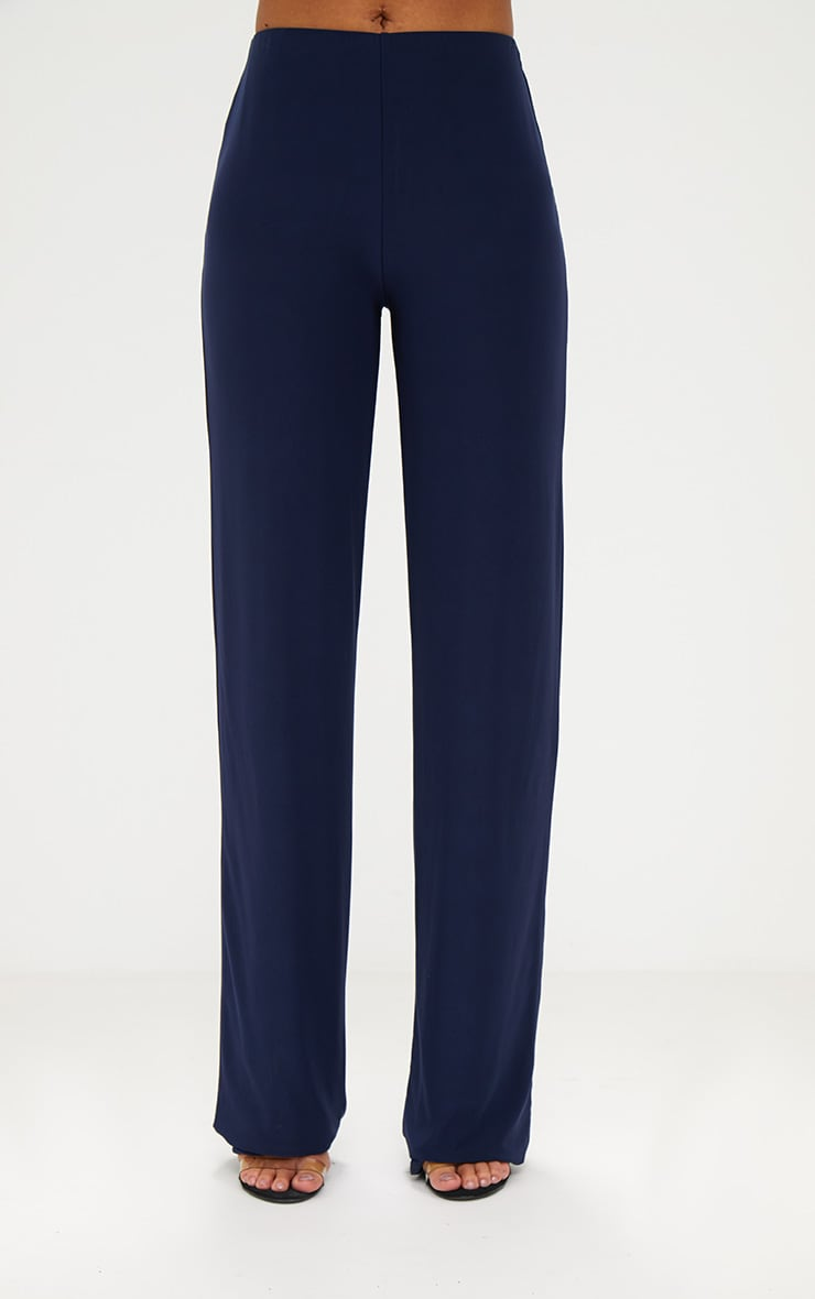 Navy Double Layer Slinky Wide Leg Trousers 3