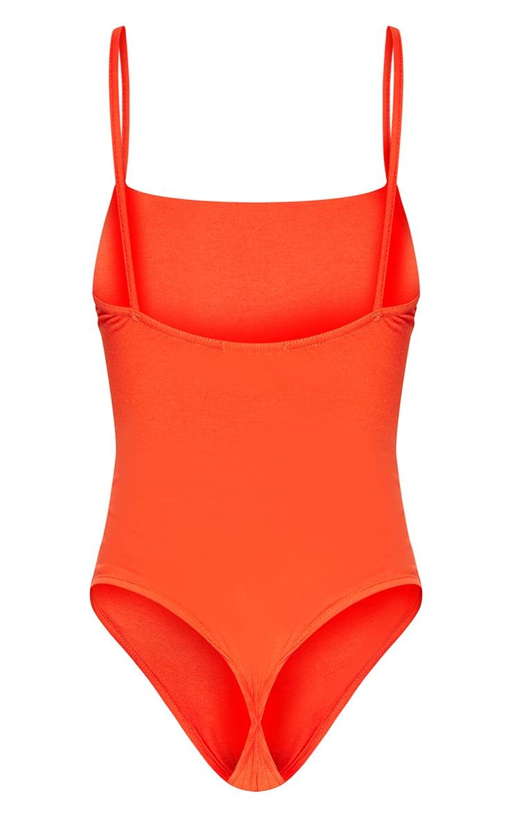 Basic Orange Square Neck Thong Bodysuit 4