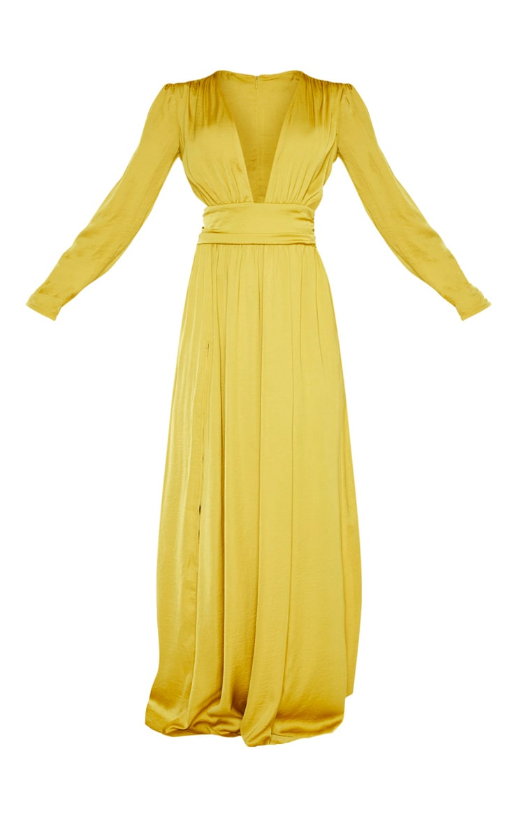 Chartreuse Puff Sleeve Extreme Plunge Waist Detail Maxi Dress 3