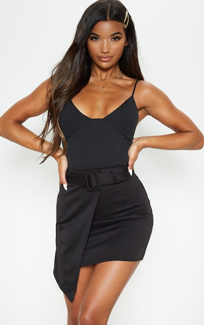 Black Belted Wrap A Line Skirt