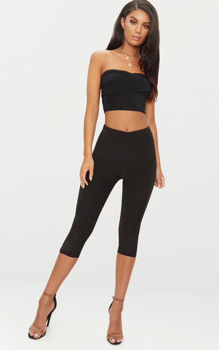 Black Slinky Draped Bandeau Crop Top  3
