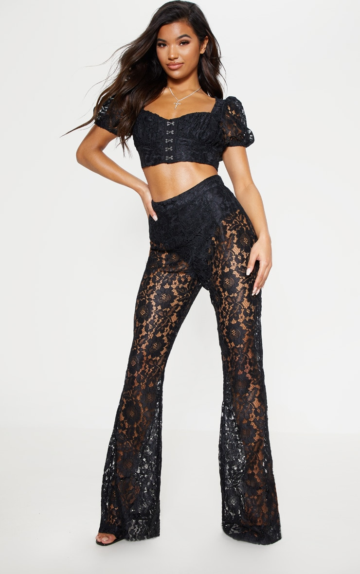Black Lace Sheer Flare Leg Trousers