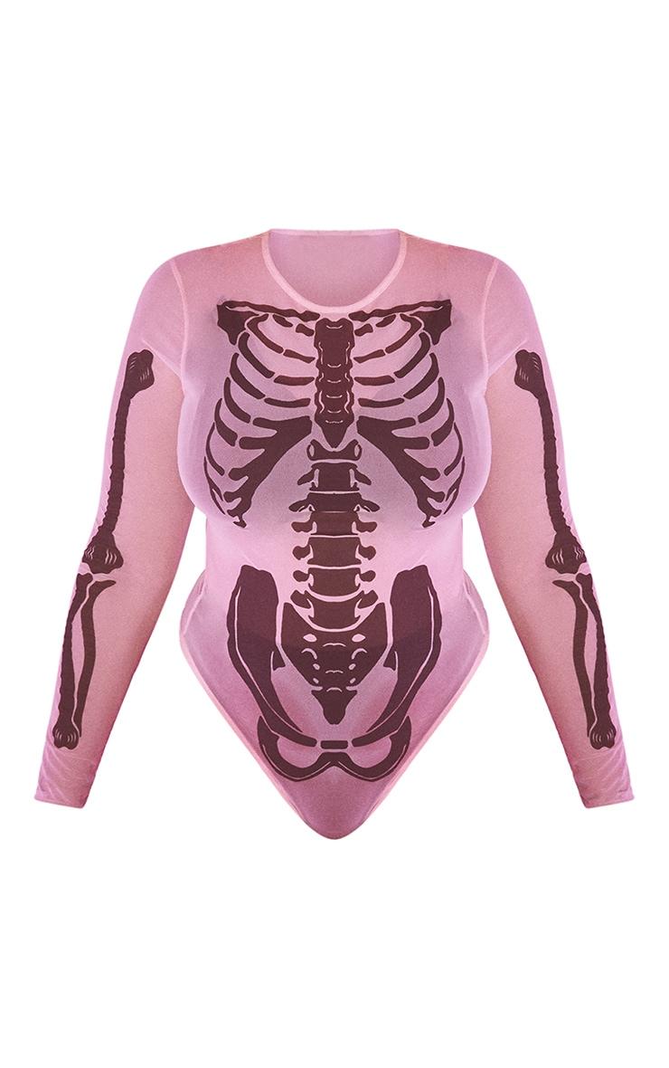 Plus Nude Skeleton Print Sheer Mesh Bodysuit 5