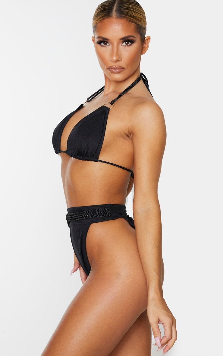 Bas de bikini noir à liens corde 2