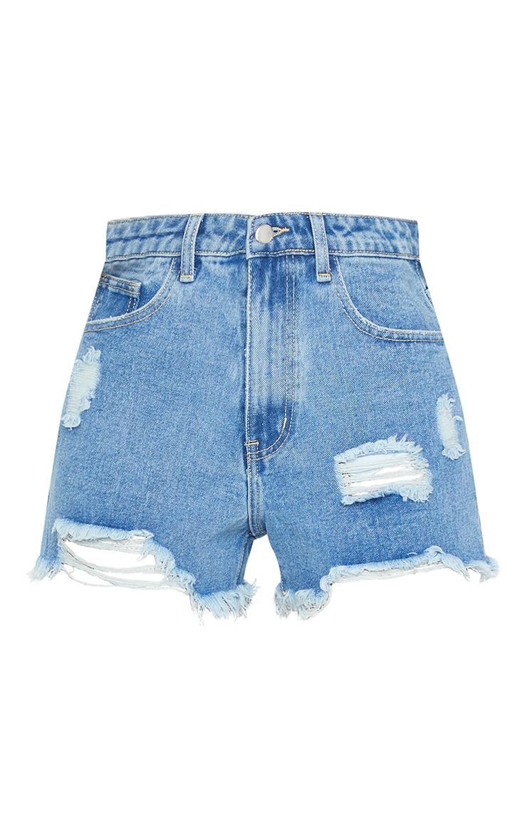 PRETTYLITTLETHING Mid Blue Wash Distressed Denim Shorts 1