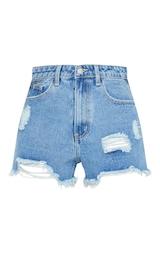 PRETTYLITTLETHING Mid Blue Wash Ripped Denim Shorts 1