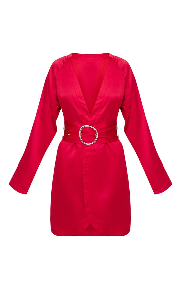 Red Satin Belted Shirt Dress 3