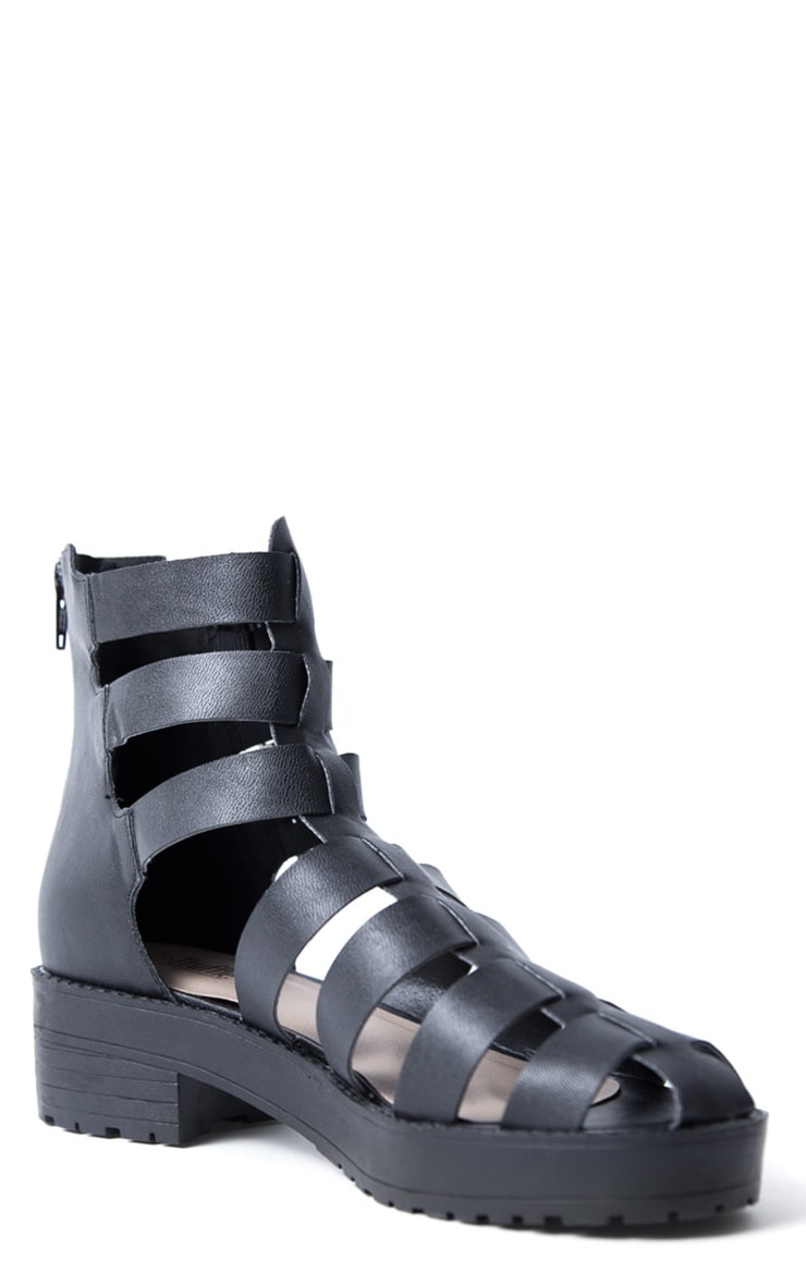 Riley Black Three Buckle Roman Sandal 3