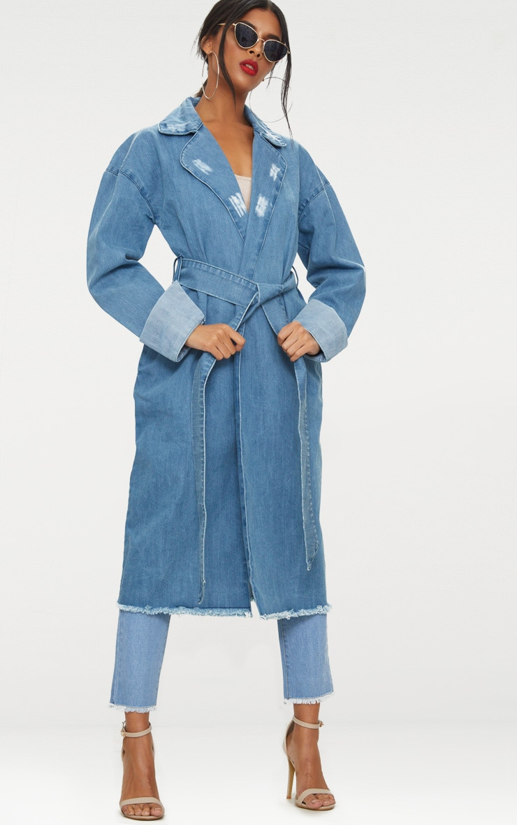 Light Wash Longline Denim Trench Coat