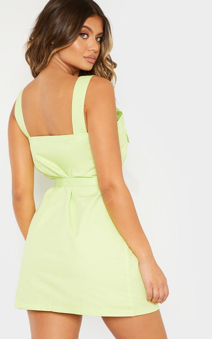 Lime Pocket Buckle Cargo Dress 2