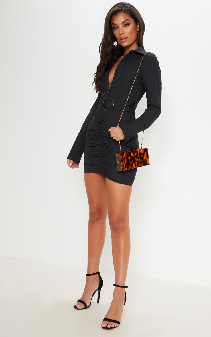 Black Plunge Ruched Tortoise Belted Bodycon Shirt Dress 4