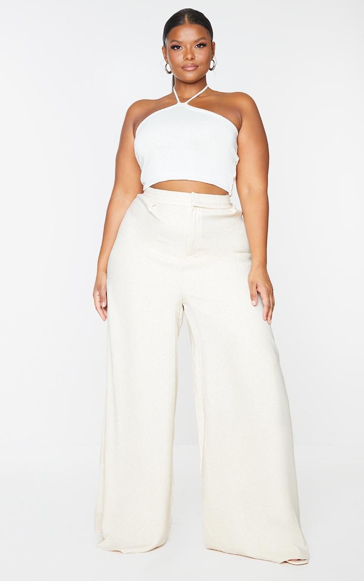 Plus Cream Woven Pleat Detail Waistband Wide Leg Trousers 1