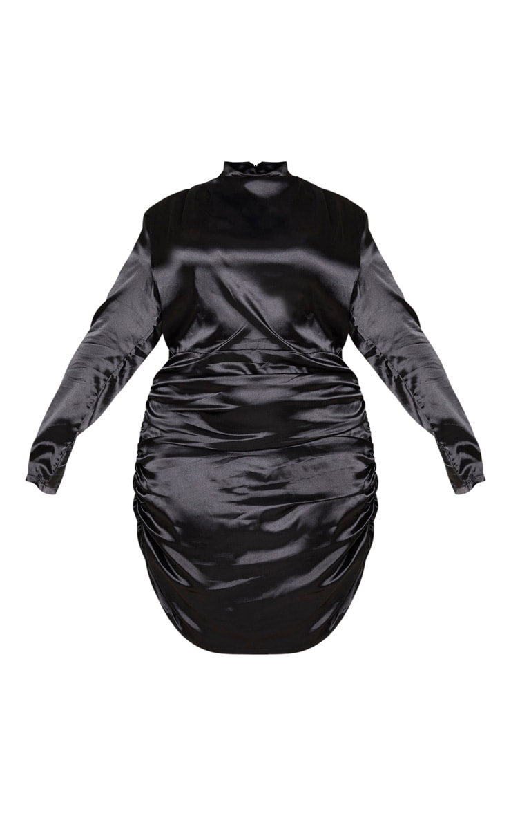 Plus Black Satin High Neck Ruched Skirt Bodycon Dress 5