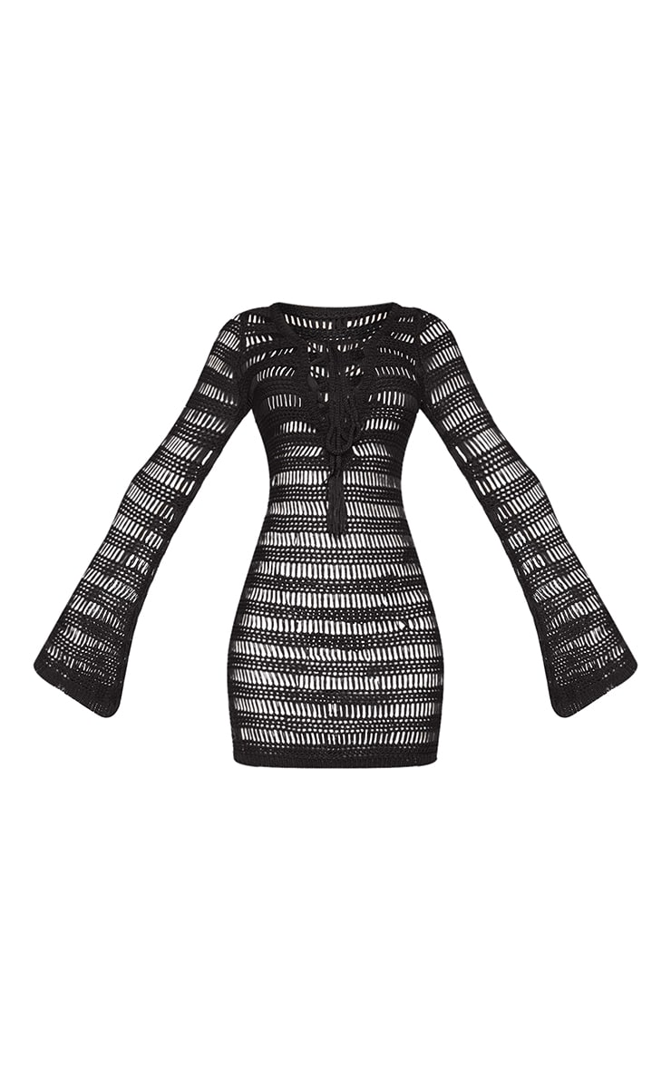 Black Open Stitch Lace Up Front Long Sleeve Knitted Dress 5