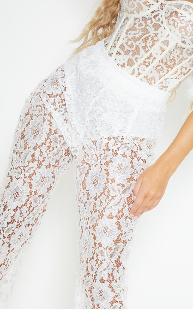 White Lace Sheer Flare Leg Trousers 5