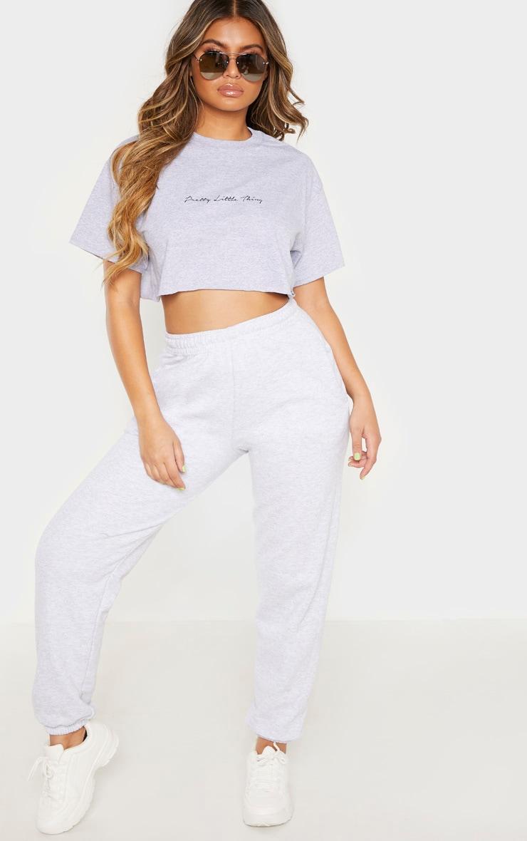 PRETTYLITTLETHING White & Grey Slogan 2 PACK Crop T Shirt 4