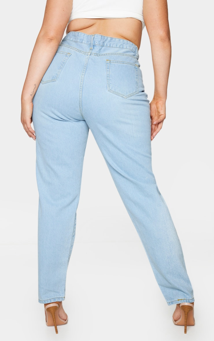 Plus Light Wash Extreme Distressed Rip Mom Jeans 3