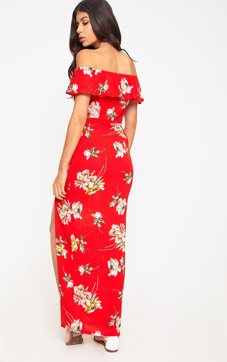 From China Clearance Cheap Red Floral Bardot Maxi Dress Pretty Little Thing Wholesale Price Cheap Online NkH4KEr