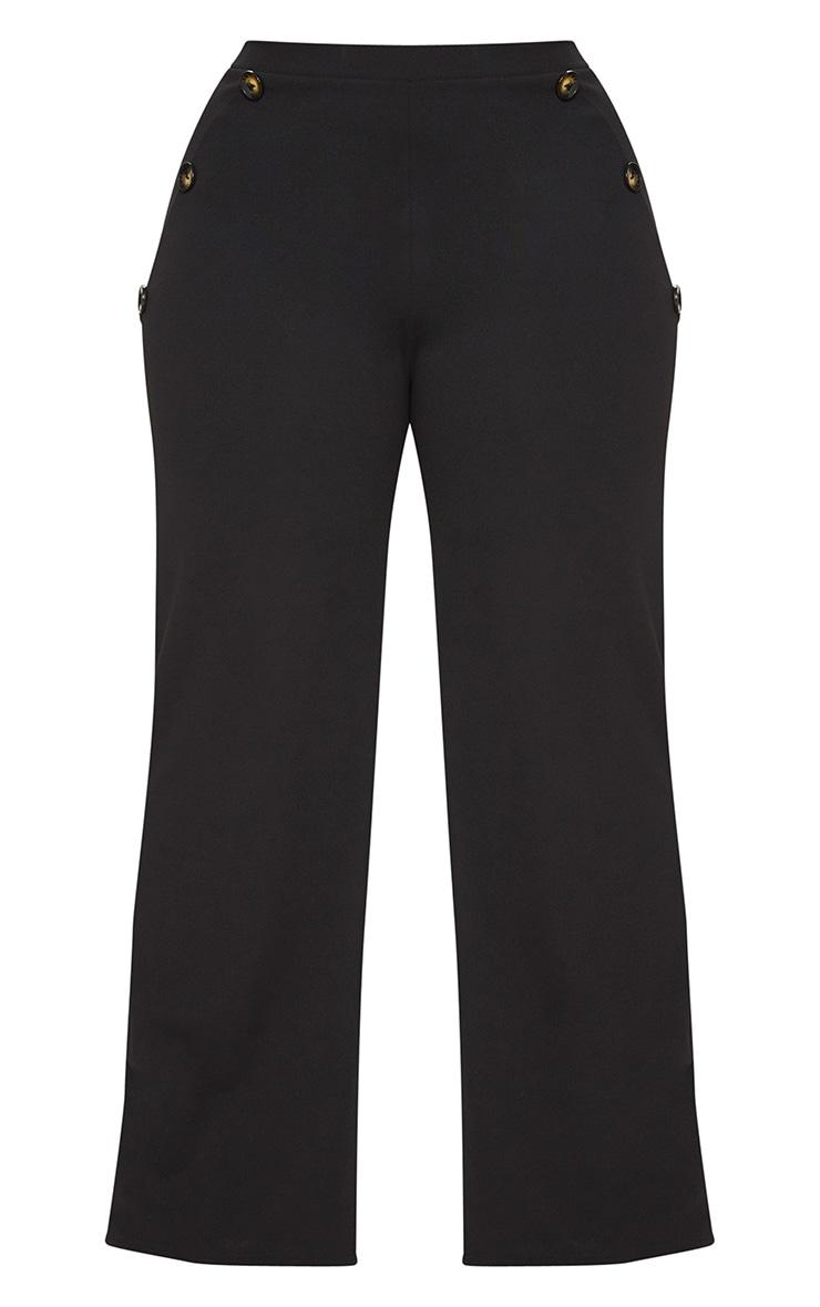 Plus Black Button Detail Wide Leg Trousers 3