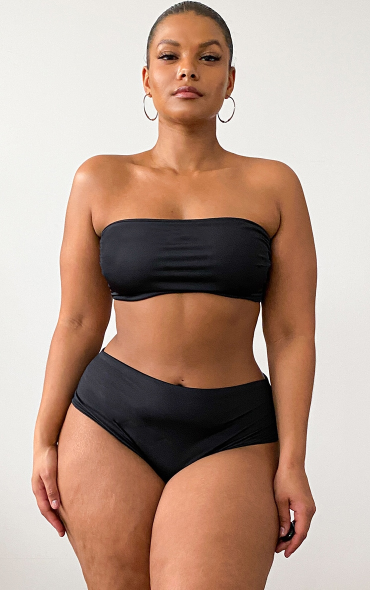 Plus Black Mix & Match Bandeau Bikini Top 1