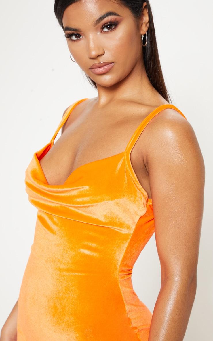Neon Orange Velvet Cowl Neck Bodycon Dress 4