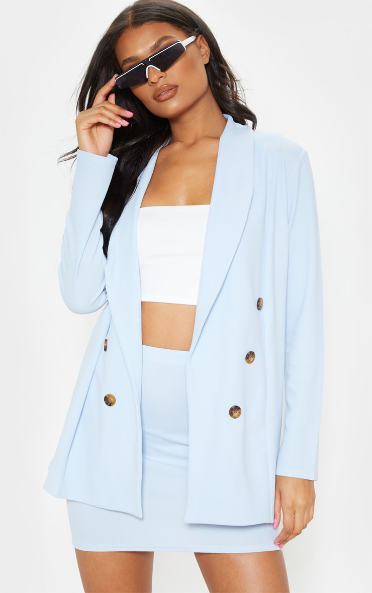Baby Blue Oversized Button Detail Blazer  1