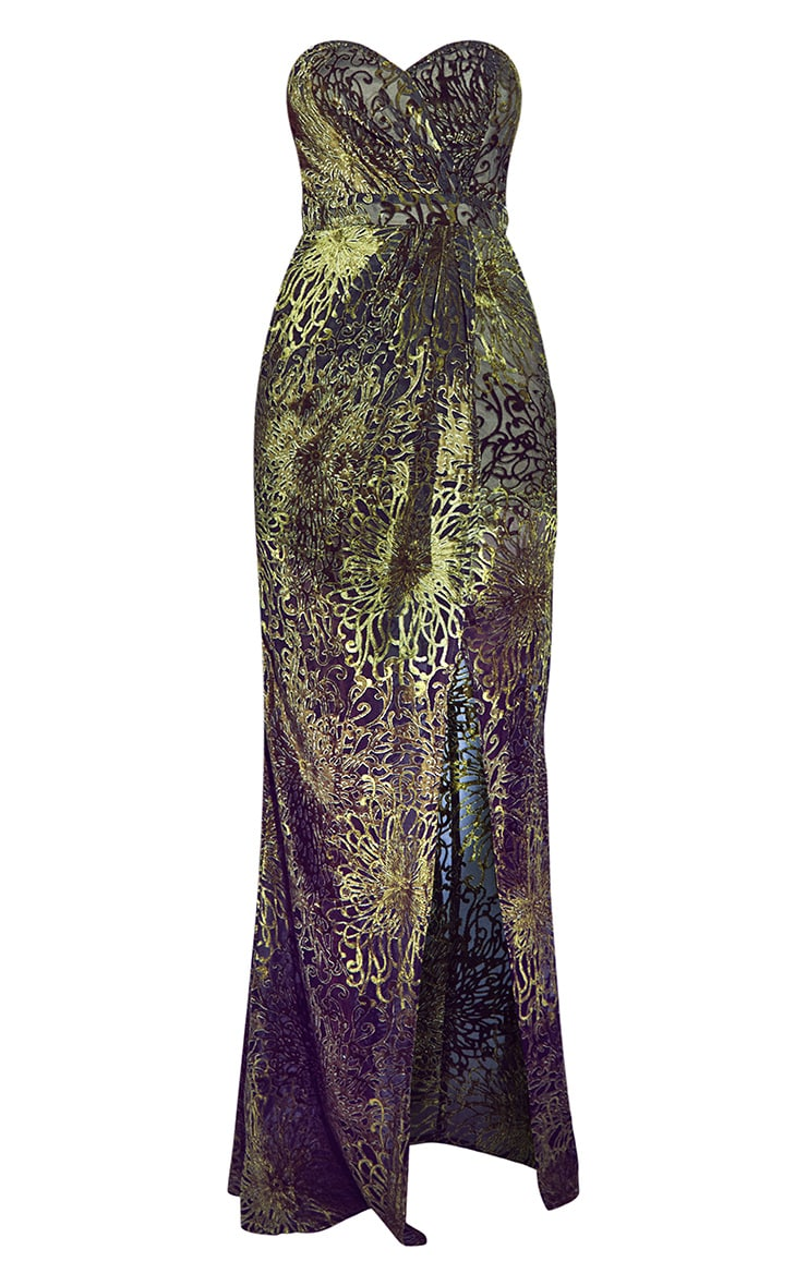 Robe longue bandeau en velours écrasé vert à encolure coeur 5