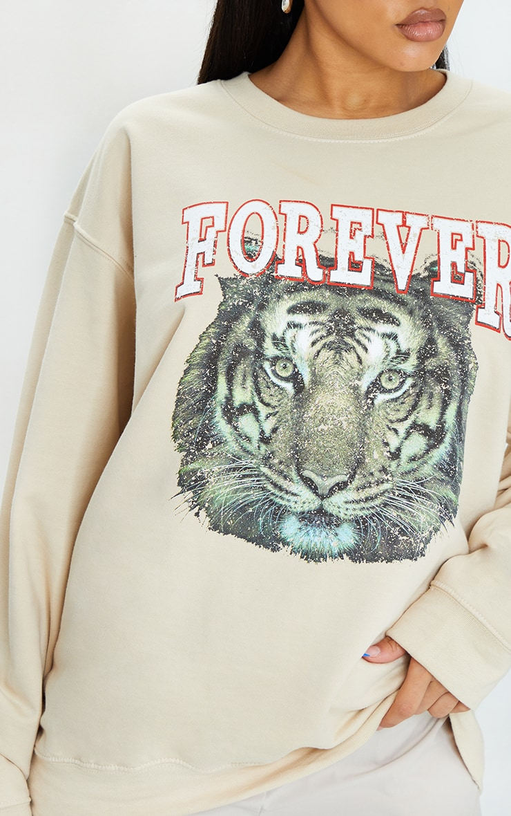 Stone Tiger Printed Washed Sweatshirt 4