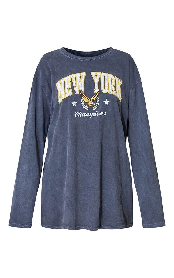 Charcoal New York Champion Washed Long Sleeve T Shirt 5