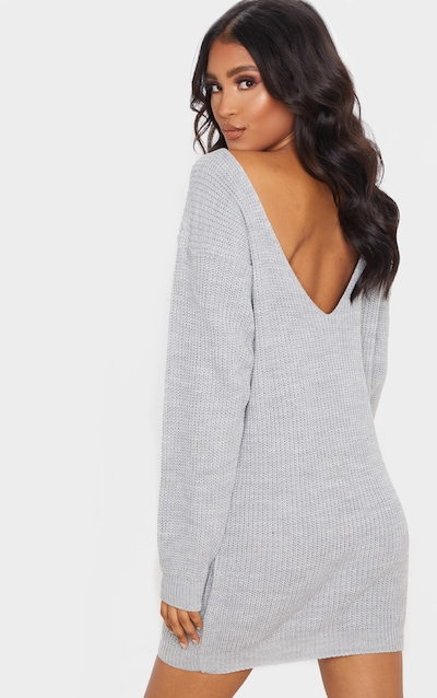 Grey Knitted V Back Jumper Dress